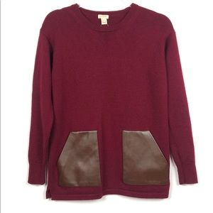 J Crew Merino Wool Pullover Faux Leather Sweater